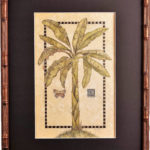 Tropical Banana in Golden Bamboo with Black Matting