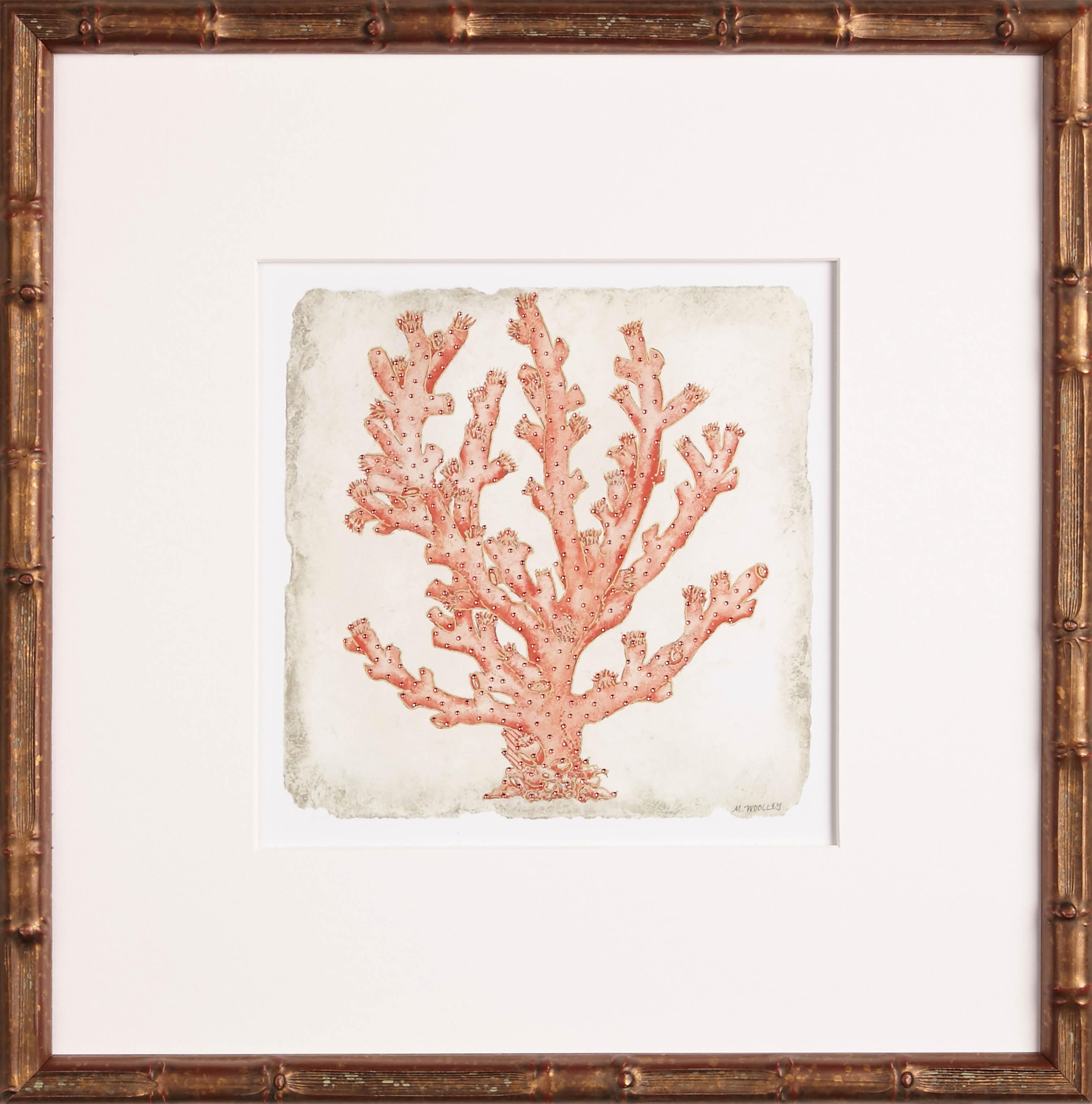 Tropical Decor | Coral in Golden Bamboo III | Island Art | One Coast ...
