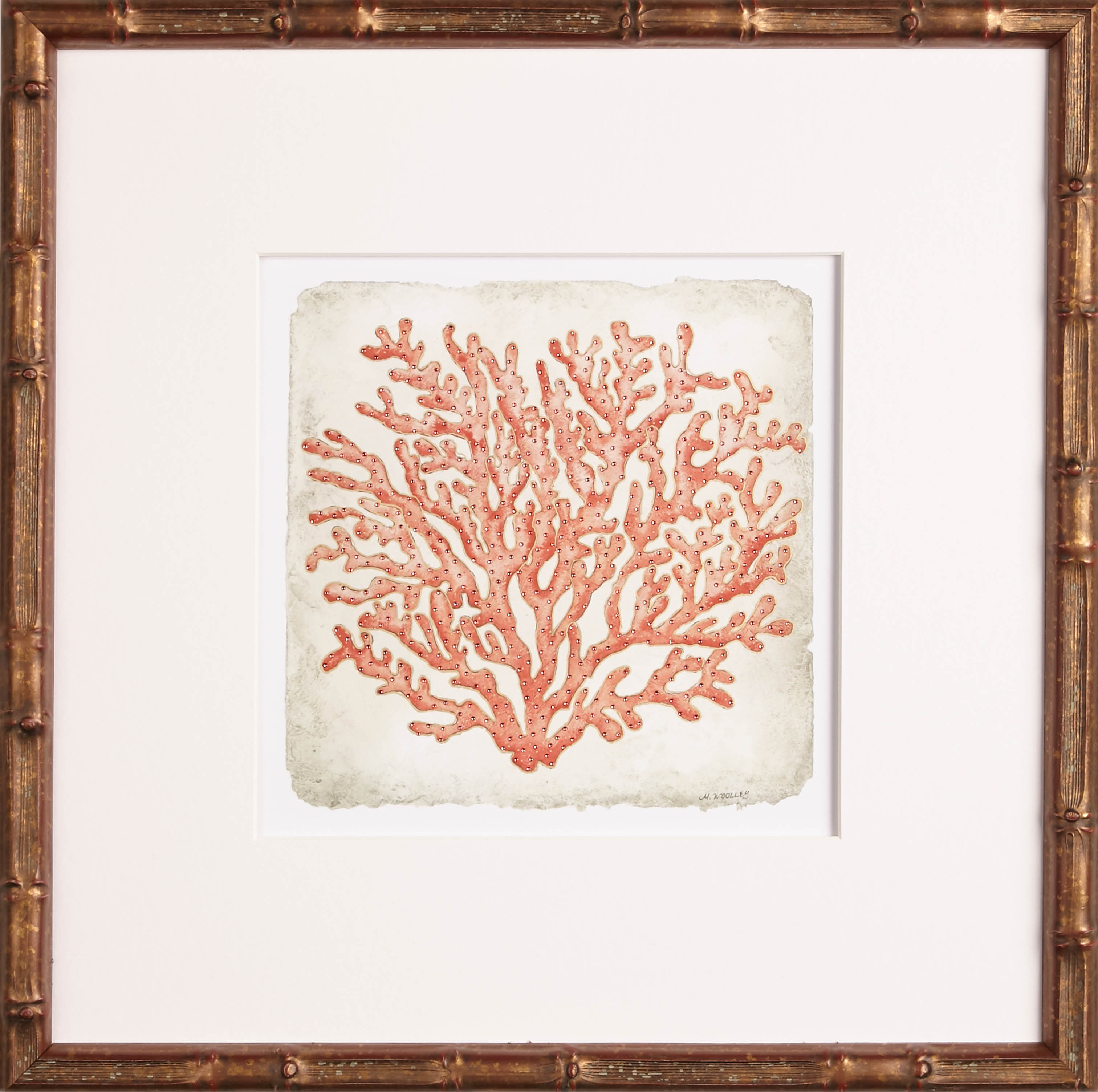 Coral Art | Coral in Golden Bamboo II | One Coast Design