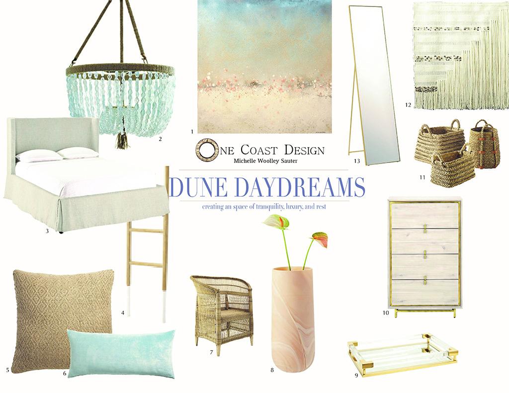 tranquil bedroom design, one coast design, dune 2 mood board