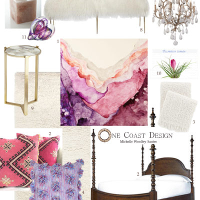 One Coast Design, Pink and Purple Bedroom Design, Abstract Art