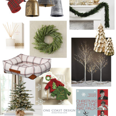 beautiful holiday decor sparkling glass and bells, plaid dog bed, wreath, gold christmas trees, fiberoptic trees for table decor and music selections from the brat pack
