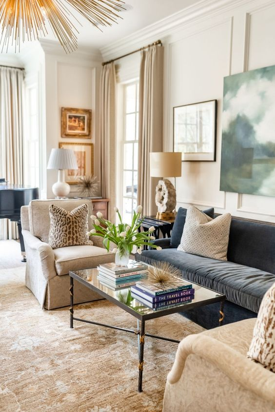 eclectic and neutral living room design