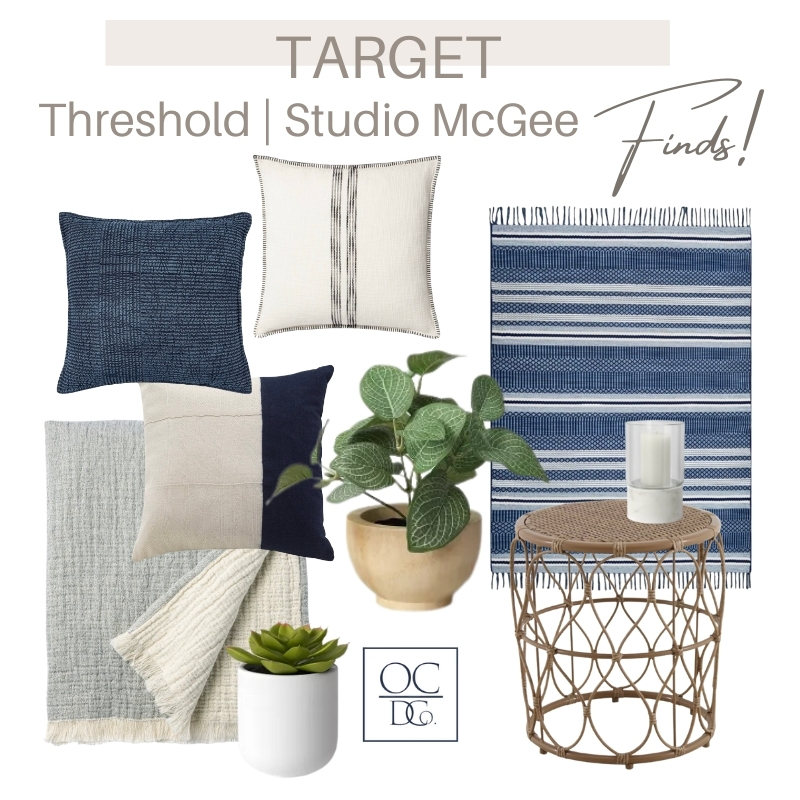 Beautiful Target pieces for your patio like toss pillows, a rugg, a woven table, candle and a throw